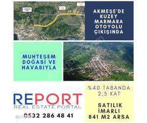 REPORT GAYRİMENKUL'DEN AKMEŞE'DE 0.80 KAKS 841m2 YATIRIMLIK ARSA
